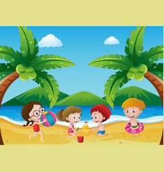 scene with children playing on the beach vector image