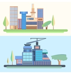 City trees houses buildings architecture city vector image vector image