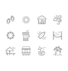 hawaii resort flat line icons set vector image vector image