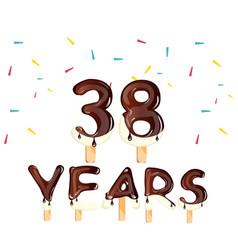 38 years birthday celebration greeting card vector image