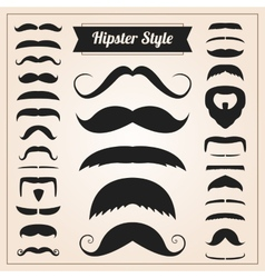 Hipster style mustache set vector image vector image