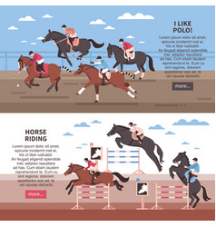 horse riding and polo banners vector image vector image