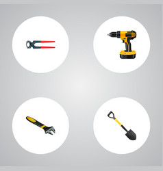 Realistic spade electric screwdriver tongs and vector