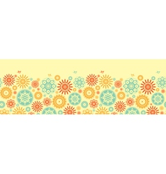 Seamless floral pattern with cartoon birds vector image
