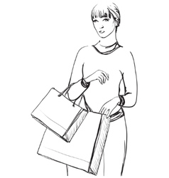 Woman Shopping Girl with bags vector image