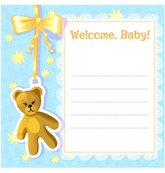 Baby greetings card with teddy bear EPS10 vector image vector image
