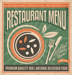 Retro restaurant menu poster design vector image