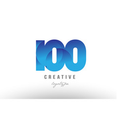 100 blue gradient number numeral digit logo icon vector
