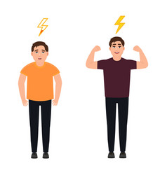 A man full of energy and strength shows hand vector