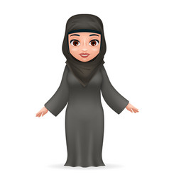 arab tradidcional cute female clothing hijab abaya vector image