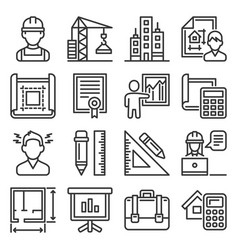 architecture and project construction icons set vector image