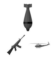 Army and armament monochrome icons in set vector