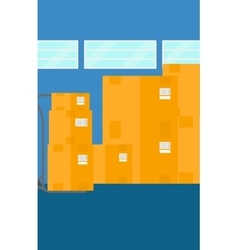 Background of cardboard boxes in warehouse vector image