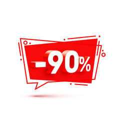 banner 90 off with share discount percentage vector image