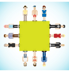 Banner with pixel people vector image