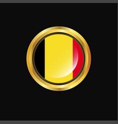 Belgium flag golden button vector