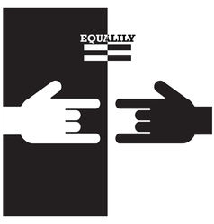 Black and white hand with equality concept vector
