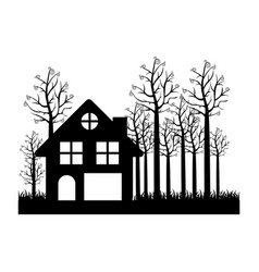 Black silhouette of cottage in the forest in white vector