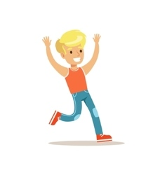 Blond Boy Running Traditional Male Kid Role vector