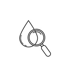Blood drop test with magnifier line icon vector