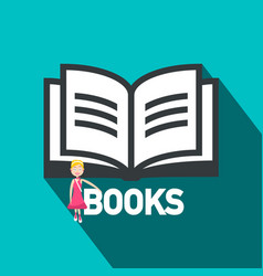 books flat design symbol open book icon with vector image