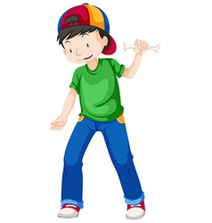 Boy in green shirt and blue jeans vector image