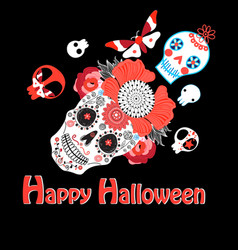 bright greeting card with skulls for vector image