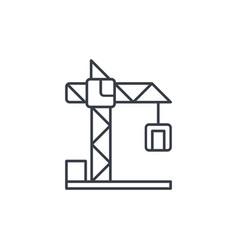 Building crane thin line icon linear vector