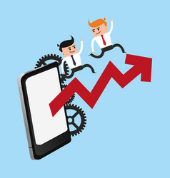 business teamwork working with smartphone vector image
