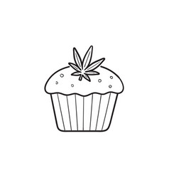 cannabis cake hand drawn outline doodle icon vector image
