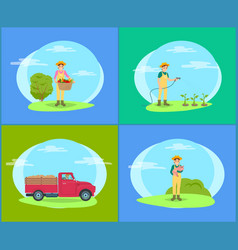 car with trailer and man set vector image