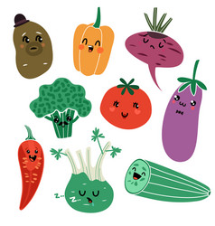 cartoon vegetables vegan healthy meal organic vector image