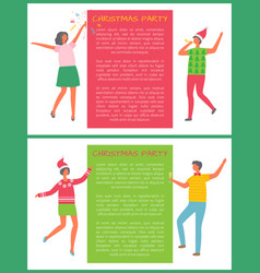christmas party people celebrate new year holidays vector image