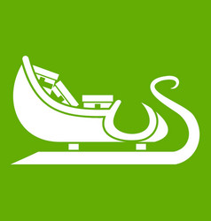 christmas sleigh of santa claus icon green vector image