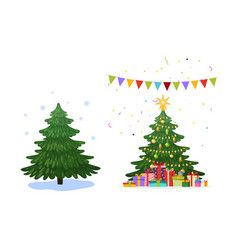 christmas tree before and after tree vector image