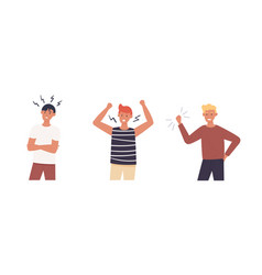Collection aggressive angry men with raised fist vector