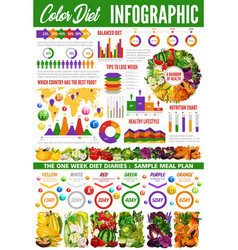 Color diet infographic with vegetables and fruits vector