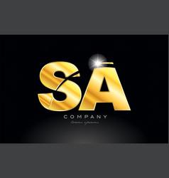 Combination letter sa s a gold golden alphabet vector
