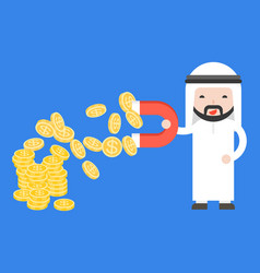 cute arab businessman use magnet attraction gold vector image