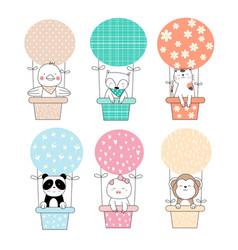 cute baanimal with balloon cartoon hand drawn vector image