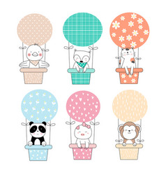 Cute baby animal with balloon cartoon hand drawn vector