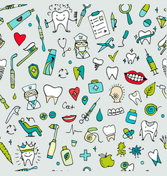 Dental seamless pattern sketch for your design vector