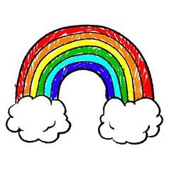 doodle crayon rainbow cloud hearts sun vector image