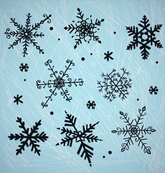 Doodle snowflakes vector image