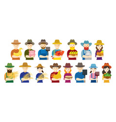 Farmer gardener characters hold agriculture vector