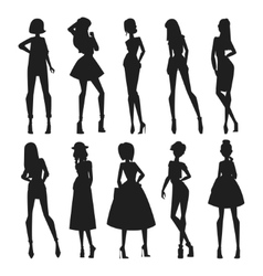 Fashion abstract girls looks black vector image
