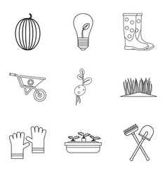 Fatherland icons set outline style vector