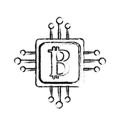 Figure square with circuit connection and botcoin vector