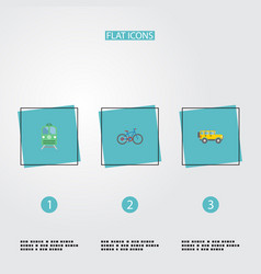 Flat icons jeep metro bicycle and other vector