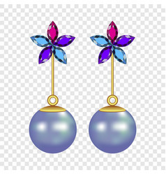 flower pearl earrings mockup realistic style vector image